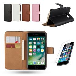 iPhone 7/8 - Läderfodral/Skydd + Skärmskydd Brun