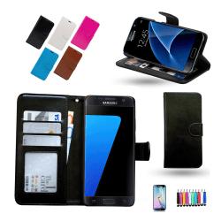 Läderfodral / Plånbok - Samsung Galaxy S7 + 3 i 1 Paket Svart