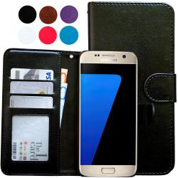 Läderfodral / Plånbok - Samsung Galaxy S7 Edge Svart