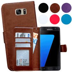 Läderfodral / Plånbok - Samsung Galaxy S7 Edge Brun