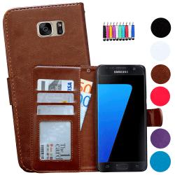 Läderfodral / Plånbok - Samsung Galaxy S7 + Touchpenna Svart
