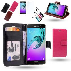 Plånbok i Läder - Samsung Galaxy A3 2016 + 3 i 1 Paket Svart