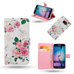 Samsung Galaxy S6 Edge - Fodral / Plånbok i Läder - Rosor