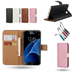 Samsung Galaxy S7 Edge - Läderfodral/Skydd Rosa