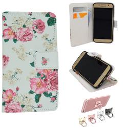 Samsung Galaxy S7 - Fodral / Plånbok i Läder - Blommor