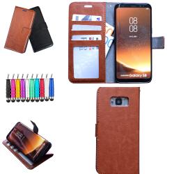 Samsung Galaxy S8 - Läderfodral / Skydd Brun
