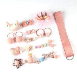 18 st barn hårtillbehör flickor hårspänne,hårband,hårsnoddar Light Pink
