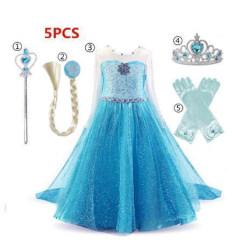 Elsa princess klänning + handskar/trollstav/krona/fläta LightBlue 110