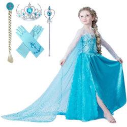 Elsa prinsessa klänning +4 extra tillbehör LightBlue 120