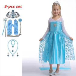 Elsa prinsessa klänning +8 extra tillbehör LightBlue 110