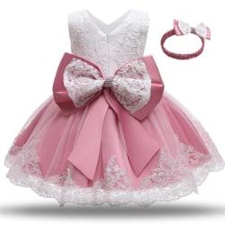 Prinsess fest klänningar med fluga och pannband DarkPink 110