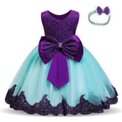 Prinsess fest klänningar med fluga och pannband Purple 100