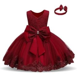 Prinsess fest klänningar med fluga och pannband Red 90