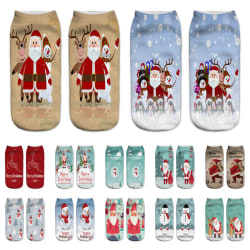 8 Par Jul korta strumpor casual roliga nakna strumpor Elk Snowman Santa 8 Par