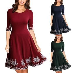2019 Women Fashion Slim Half Sleeve Elegant red XL