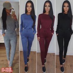 2Pcs Women Tracksuit Hoodies Sweatshirt Pants Sets black S