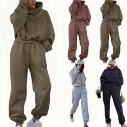 2PCS Women Tracksuits Set Hoodie Tops Pants Gym Sport Loungewear Light Grey M
