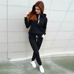 2PCS Womens Hoodies Tracksuit Sweatshirt Pants Sets Sport Gym Black S