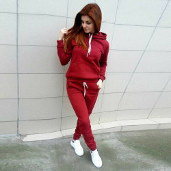 2PCS Womens Hoodies Tracksuit Sweatshirt Pants Sets Sport Gym Red L