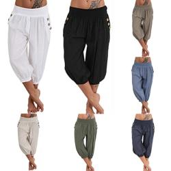Aladdin-byxor för damer, lösa yogapyjamas, avslappnade byxor svart XL