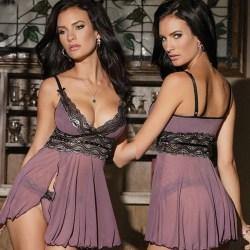 Alla hjärtans dag damklänning, sexiga djupa V-ringade pyjamas 3XL