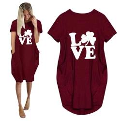 Alla hjärtans dag klänning med tryckt klövermönster rödvin 3XL