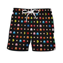 Anime print seaside vacation beach pants loose drawstring shorts Pacman L