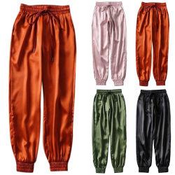 Autumn Black Satin Joggers Women Trousers High Waist Pants orange M