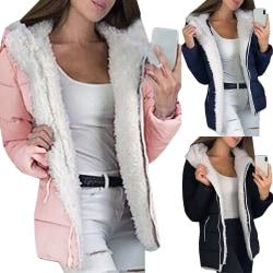 Sherpa Hoodie för damer Fuzzy Wool Coat Front Cardigan svart S