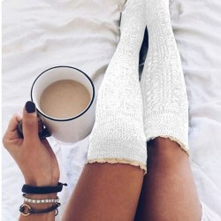 Autumn Winter Pair Of Women High Socks Lace Trim Knitted white