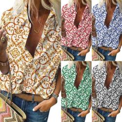Autumn Winter Printed Women Fashion Button Cardigan Shirt blue M