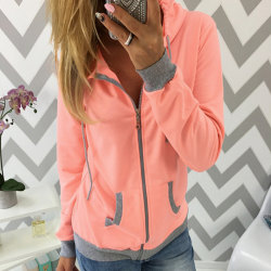 Avslappnad långärmad luvjacka med huva för kvinnor med fickor orange XL