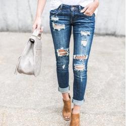 Bekymrad flickvän raka lösa jeans, manschetterade jeans ljusblå L