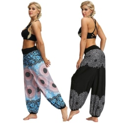 Bohemia Harem Pants Women Vintage Printed black M