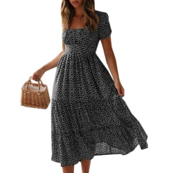 Bubble Sleeved Kvinnor Summer Dress Black S