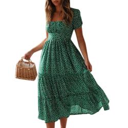 Bubble Sleeved Kvinnor Summer Dress Green M