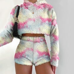 Casual Women Autumn Fashion Long Sleeves Tops+Shorts Tracksuit Tie Dye A S