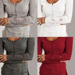 Långärmad T-shirt för kvinnor _ trendig långärmad wine red XL