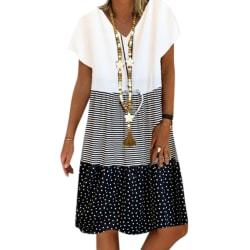Color Block Stripe Print Kvinnor Maxi Dress Black XL
