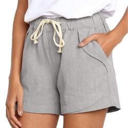 Women's Drawstring Elastic Casual Cotton Linen Beach Shorts Leopard XL
