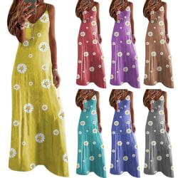 Daisy Print Slim Strap Dress sky blue L