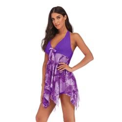 Dam baddräkt med hög midja, kjol-stil tryckt split baddräkt kjol Lila M