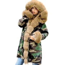Dam Camo-tryckt vinterjacka vadderad Parka Fuskpäls fodrad varm camo grön + kaki S