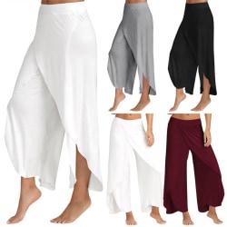 Dam eleganta avslappnade byxor med vida ben, flödande vidbyxor grå 2XL