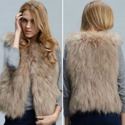 Dam Faux Fox Fur Waistcoat Kort västrock ärmlös jacka XL