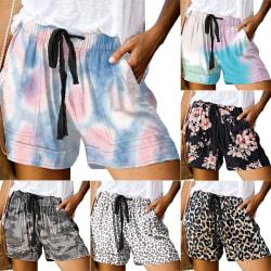 Dam sommar söta shorts, tie-dye shorts, dragsko casual shorts vit + liten leopard 3XL
