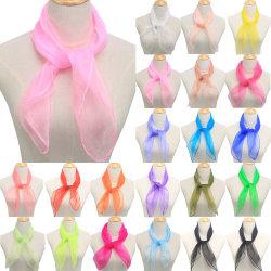 Women's Candy Color Silk Scarf Scarf Shawl Fashion Retro Scarf Orange 60*60CM