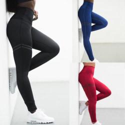 Dam Yoga Running Tights Fitnessbyxor Träningsbyxor med hög midja svart XL