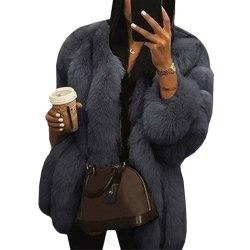 Damer rund hals plyschjacka casual faux ull kappa varm jacka mörkgrå S