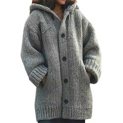 Damjacka med stickad jacka med knappar ned koftajacka med ficka grå S
